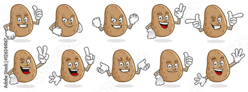 Fényképezés potato mascot vector pack, potato character set, vector of potato