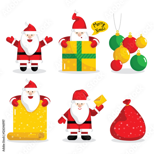 Christmas Santa Claus characters collection vector illustration ...