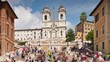 summer day rome famous spanish steps crowded panorama 4k time lapse italy
