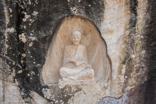 Photo Big Buddha stone at Wat Tham Pha Daen Pagoda