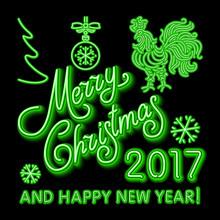Green Christmas Neon Sign. Vec...