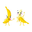 banana. Cute fruit vector character couple isolated on white background. Funny emoticons faces. Vector illustration. Vector clip art.