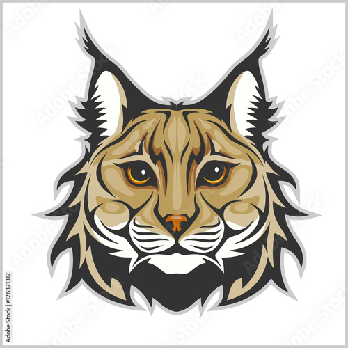 Head of lynx isolated on white - mascot logo. Wallpaper Mural