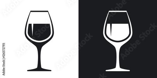 Fototapeta Vector wineglass icon. Two-tone version on black and white background obraz