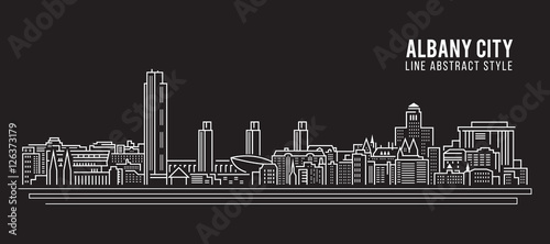 Fényképezés  Cityscape Building Line art Vector Illustration design - Albany city