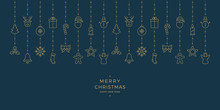 Christmas Gold Icon Elements Hanging Blue Background