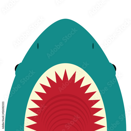 Shark with open mouth and sharp teeth Wallpaper Mural
