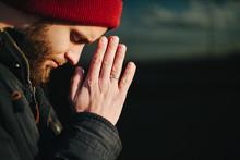 Man Praying Outside To God