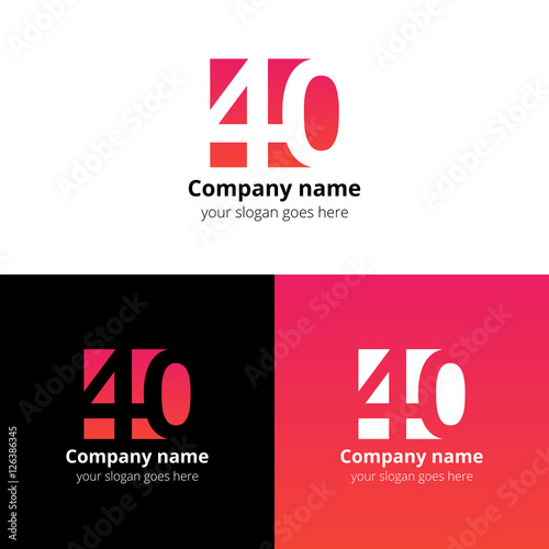 40 Logo Icon Flat And Vector Design Template Monogram Years Numbers Four Zero