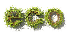 Eco Concept. Eco Word Made Of Green Vector Leaves. Word Made Of