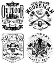 Grunge  Great Outdoor Lumberjack And Woodsman Vector Artworks For T Shirt, Poster, Label  And Others.