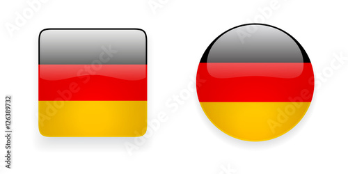 Glossy German Flag Vector Icons Round And Square Shiny Icons With