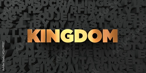 Kingdom - Gold text on black background - 3D rendered royalty free stock picture Wallpaper Mural