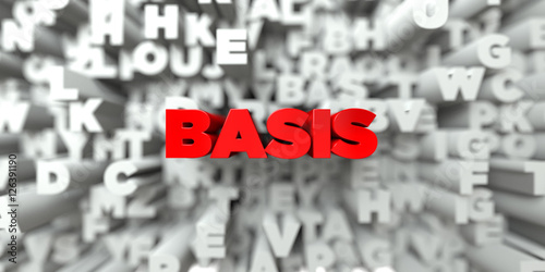 Fotografie, Obraz  BASIS -  Red text on typography background - 3D rendered royalty free stock image