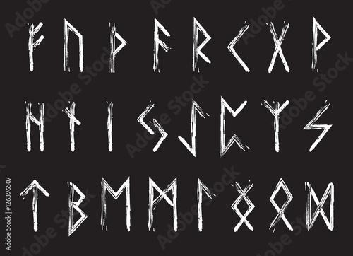 Rune set of letters, runes alphabet Wallpaper Mural