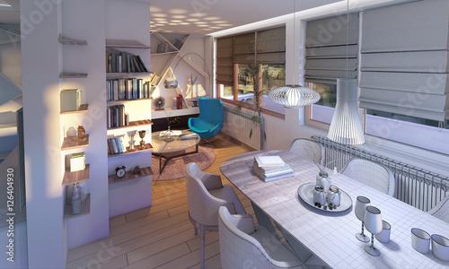 Fototapeta living room with wireframe,3d render obraz na płótnie