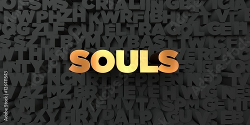 Fotografie, Obraz  Souls - Gold text on black background - 3D rendered royalty free stock picture