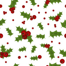 Holly Berry Natural Winter Seamless Pattern Christmas Background.