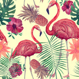 Fototapeta Młodzieżowe - Seamless watercolor pattern with flamingo, leaves, flowers. Hanad drawn .