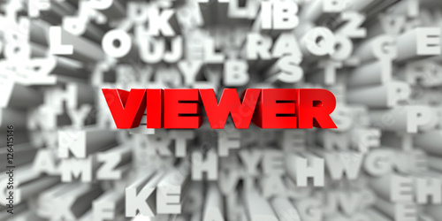 VIEWER - Red text on typography background - 3D rendered