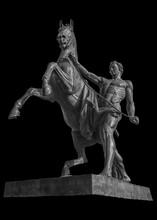 Isolated Sculpture On The Anichkov Bridge In St. Petersburg