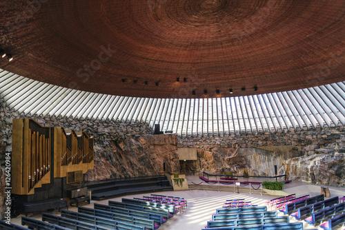 Cadres-photo bureau Edifice religieux Temppeliaukio rock church famous landmark interior in helsinki f