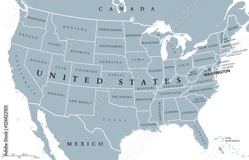 Political Map Of Alaska.Usa United States Of America Political Map With Capital Washington