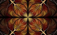 Fiery Fractal Flower, Digital Artwork For Creative Graphic Art And Design