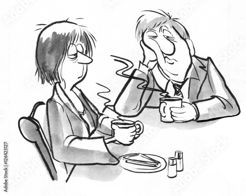Fotografie, Obraz  Black and white illustration of a tired couple drinking morning coffee before work