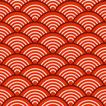 White Red Traditional Wave Japanese Chinese Seigaiha Pattern Background Vector Illustration