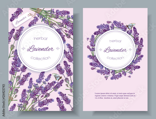 Vector Lavender Natural Cosmetic Vertical Banners On Lilac