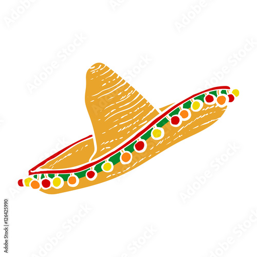 Fotografie, Obraz  Traditional Mexican wide brimmed sombrero hat, vector illustration isolated on white background