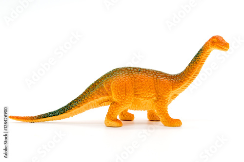 Brachiosaurus dinosaur toy model on white background