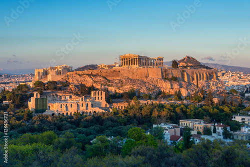 In de dag Athene The Acropolis at Athens Greece at sunset