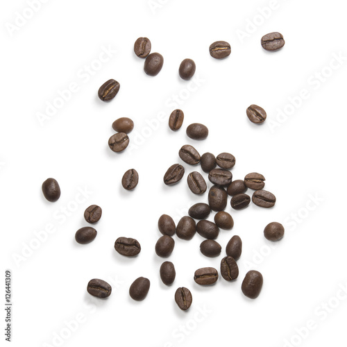 Poster Café en grains coffee attributes on a white background