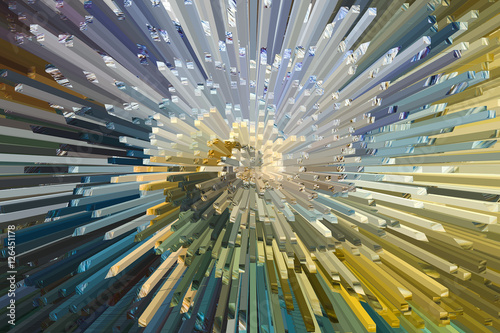 Fotografie, Obraz  Abtstract 05b - Bombshell in Tiffany Colous