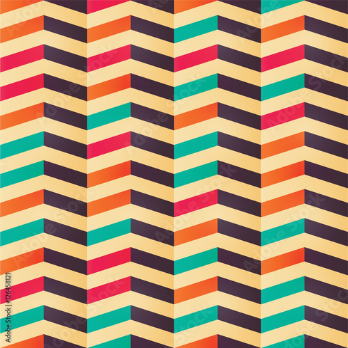 Fotobehang ZigZag Geometric seamless chevron pattern in retro colors