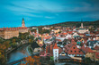 Cityscape of Cesky Krumlov, Czech republic. Autumn evening night