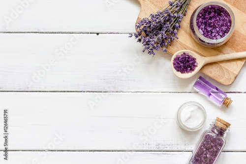 Fotografie, Obraz  ingredients for manufacture of natural cosmetics with lavender top view