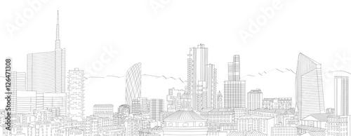 Fotografie, Obraz  Nuovo skyline di Milano, disegno a mano libera