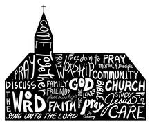 Church Shape With Word Cloud D...