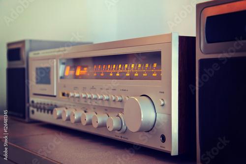 Fotografía  Vintage stereo cassette tape deck player receiver front panel an