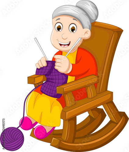 Awesome Funny Grandmother Cartoon Knitting In A Rocking Chair Buy Machost Co Dining Chair Design Ideas Machostcouk
