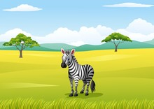 African Landscape With Zebra