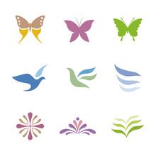 蝶や鳥、花のシンボル...