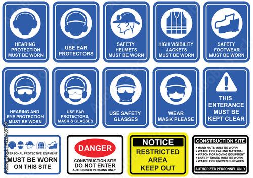 Fotografie, Obraz  Blue mandatory set of safety equipment signs in white pictogram