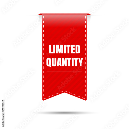 Fotografía Limited quantity. Red vector sticker on a white background.