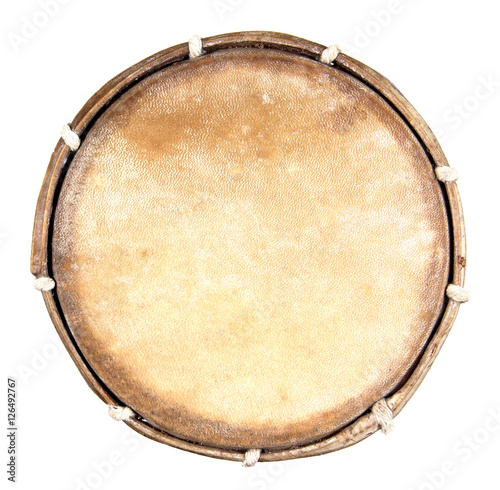 Leinwand Poster Top view of drum leather isolated on white background. Drum head