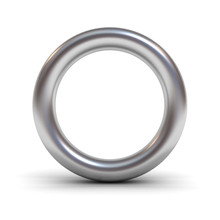 Metal Alphabet Letter O Or Silver Ring Isolated On White Background With Reflection And Shadow 3D Rendering