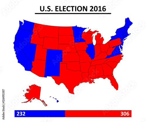 Photo  USA election 2016 map vector